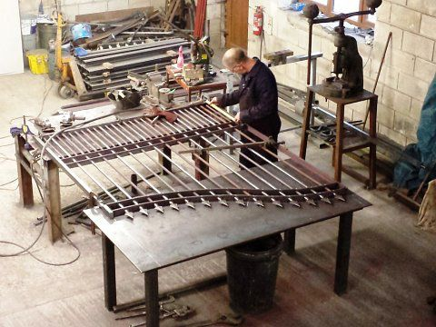 Gates & railings, Failsworth Cemetery, Oldham - Ben making the gates in the workshop