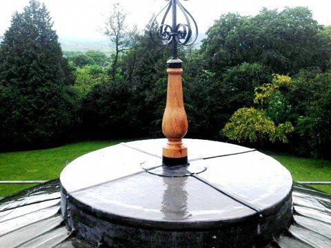 Weathervane, Ingleborough Hall, North Yorkshire - Replica bottle in turned oak