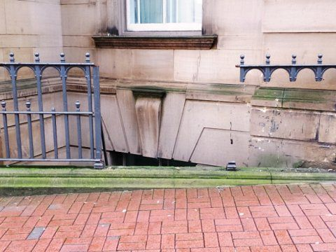 Leopold Hotel, Sheffield - Damaged railings