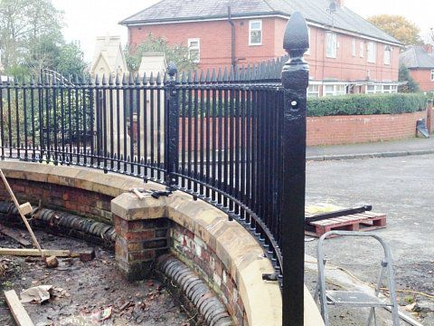 Gates & railings, Failsworth Cemetery, Oldham - Railings during installation