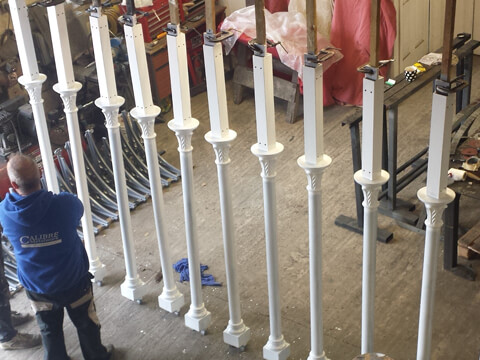 New replica cast iron columns off new pattern work finished and ready for installation.