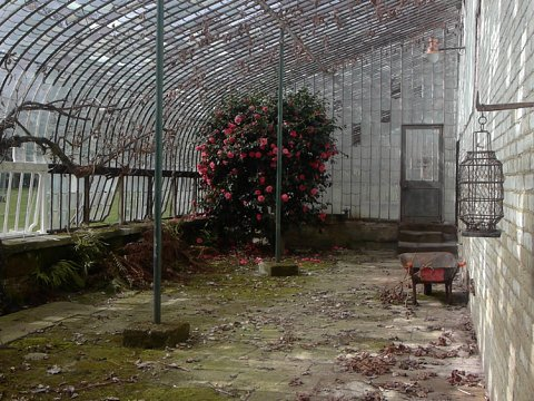 The interior of the glasshouse prior to restoration