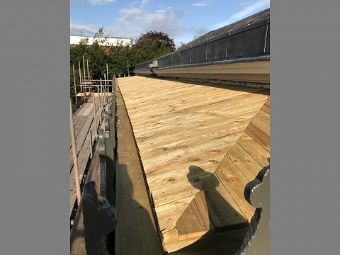 A new tanalised, penny gap boarded roof supporting structure…