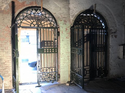Gates and overthrows were returned and installed into  repaired stonework.
