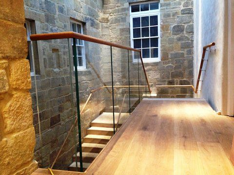 Glass balustrade, Hexham Abbey, Northumberland -
