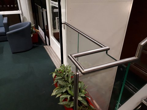 Handrails extend horizontally beyond the top and bottom nosing to offer support to disabled users and to make the sight impaired users aware of the staircase.