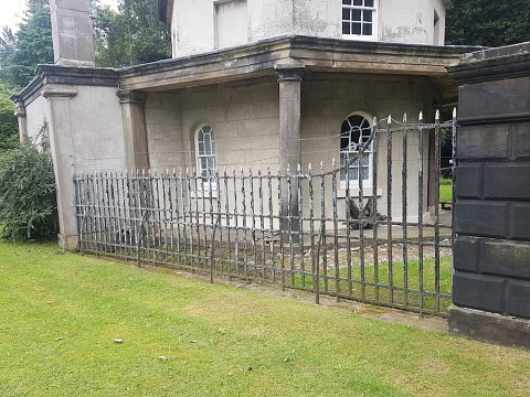 The left hand Mere lodge railings before our restoration works began.