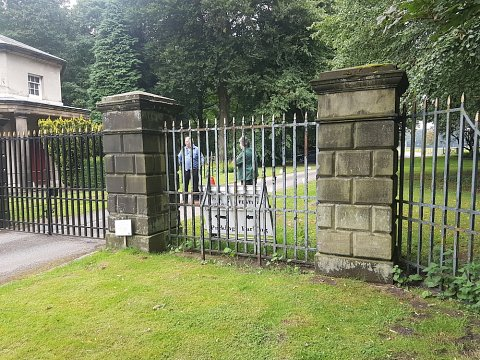 The Mere lodge gates before our restoration works began.