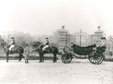This historic photograph of the gates and railings was handed to us by the client to assist with our restoration works.